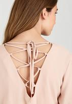 c(inch) - Lace-up back Blouse Pale Pink