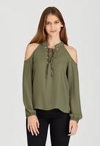 c(inch) - Cold Shoulder Blouse Khaki Green
