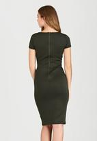 edit - Fitted Dress with Shaped Neckline Khaki Green
