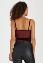 Boohoo - Velour Cropped Top With Sheer Insert Panels Dark Red