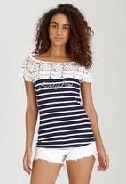 SISSY BOY - Posy Striped Short Sleeve Tee Blue and White