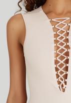 SISSY BOY - Trinz Sleeveless Lace-up Bodysuit Pale Pink