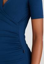 Cherry Melon - Short Sleeve Wrap Front Top Blue