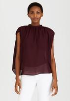 STYLE REPUBLIC - High Neck Blouse Dark Red