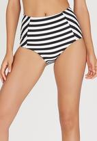 Sun Things - High-Waisted Bikini Bottoms Black and White