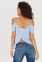 SISSY BOY - Cinthie Stripe Cold Shoulder Top Blue and White
