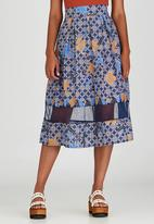 Khanya by Pengelly - Ankara Print Sheer Insert Skirt Mid Blue