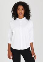 Suzanne Betro - Lace Trim Poplin Shirt White