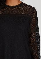 Suzanne Betro - Lace Tunic Top Black