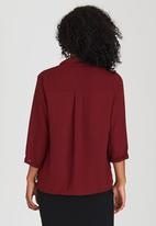Suzanne Betro - Solid Crossover Blouse Dark Red