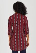 Suzanne Betro - All-over Print Tunic Top Dark Red