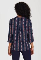 Suzanne Betro - All-over Print Crossover Blouse Navy