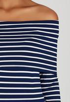 Suzanne Betro - Stripe Off-shoulder Knit Top Navy