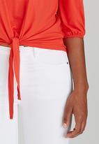 c(inch) - Tie Front Top Orange