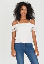 edit - Cami with Crochet Trim White