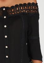 edit - Gypsy Blouse with Crochet Trim Black