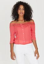 edit - Gypsy Blouse with Crochet Trim Coral