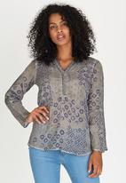 G Couture - Printed Top with Crochet Inset Pale Grey