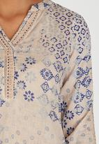 G Couture - Printed Top with Crochet Inset Pale Pink