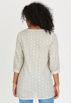 G Couture - Embroidered Tie-neck Tunic Grey