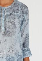 G Couture - Printed Button Neckline Boxy Tunic Pale Blue