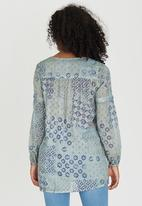 G Couture - Printed Slit Neckline Boxy Tunic Turquoise