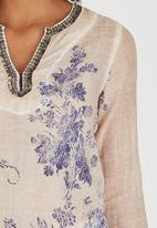 G Couture - Beaded Neckline Printed Tunic Coral