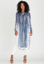 G Couture - Collared Longer Length Tunic with Slits Blue and White