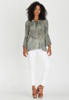 G Couture - Lace-up Tunic Mid Green
