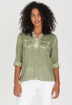 G Couture - Top with Lurex Rhinestone detail Khaki Green