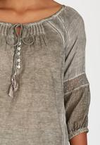 G Couture - Pintuck Tassel Top Grey