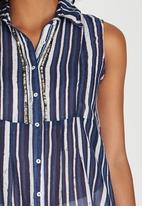 G Couture - Multi Printed Tunic with Collar Blue and White