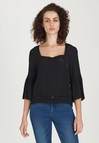 edit - Gypsy Blouse with Ladder Lace Detail Black