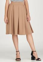 edit - Fit and Flare Skirt Stone/Beige