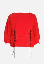 STYLE REPUBLIC - Lace-up Blouse Red
