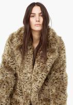 MANGO - Faux Fur Leopard Print Coat Animal Print