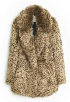 MANGO - Faux Fur Leopard Print Coat Animal Print