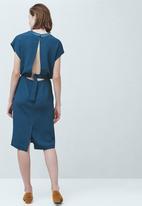 MANGO - Paneled Pencil Dress Dark Blue