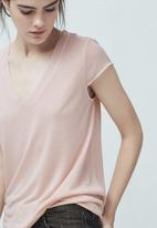 MANGO - Soft Panel T-shirt Pale Pink