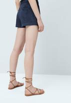 MANGO - Leather Straps Sandal Mid Brown