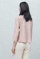 MANGO - Anglaise Detail Blouse Pale Pink
