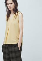 MANGO - Flowy Textured Top Yellow