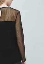 MANGO - Sheer Blouse Black