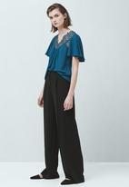 MANGO - Lace Detail Blouse Dark Blue