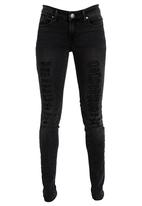 SOVIET - Presephone Ripped Skinny Jeans Black