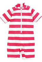 Next - Striped Sunsafe Suit Mid Pink