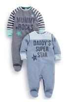 Next - Mum And Dad Slogan Sleepsuits 2-Pack Multi-Colour