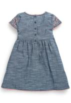Next - Chambray Embroidered Dress Mid Blue