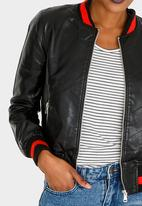 c(inch) - Ribbed Leather-look Bomber Jacket Black