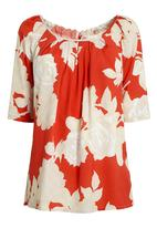 Next - Printed Bow back top Red